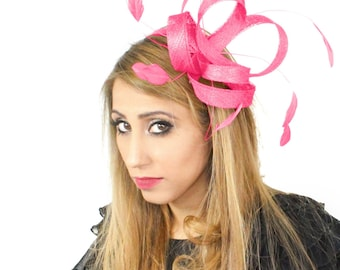 Hot Pink 2 by 4 Fascinator Hat for Weddings, Races, and Special Events With Headband