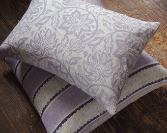 Passionflower hand block printed lavender on natural undyed gray brown linen decorative pillow cover spring home decor