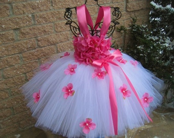 WHITE PINK FLOWERS - Tutu Dress -  Flower Girl Gown -  Pageant Wear - 1st  Birthday Outfit - White and Pink Tutu - White Tutu Dress