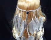 Long Gray Feather Headband Native American Hippie Bohemian Coutry Western Tribal