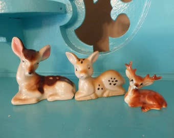 Sweet Trio of Vintage Miniature Ceramic Deer Figurines