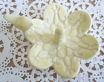 Ring dish - Kitchen ring holder - Brides gift - yellow ring holder gift - Hand made pottery,