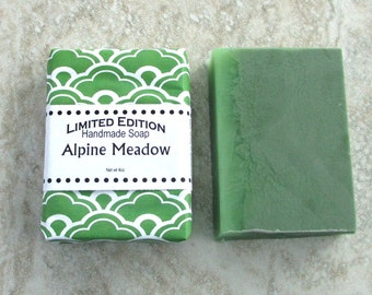 Alpine Meadow Handmade Soap, Gentle soap recipe, Herbal medley fragrance, green colored fresh soap