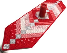 Hearts Table Runner, Red and White Valentines Day Runner, French Braid Quilted Table Runner, Love Runner, Wedding Decor