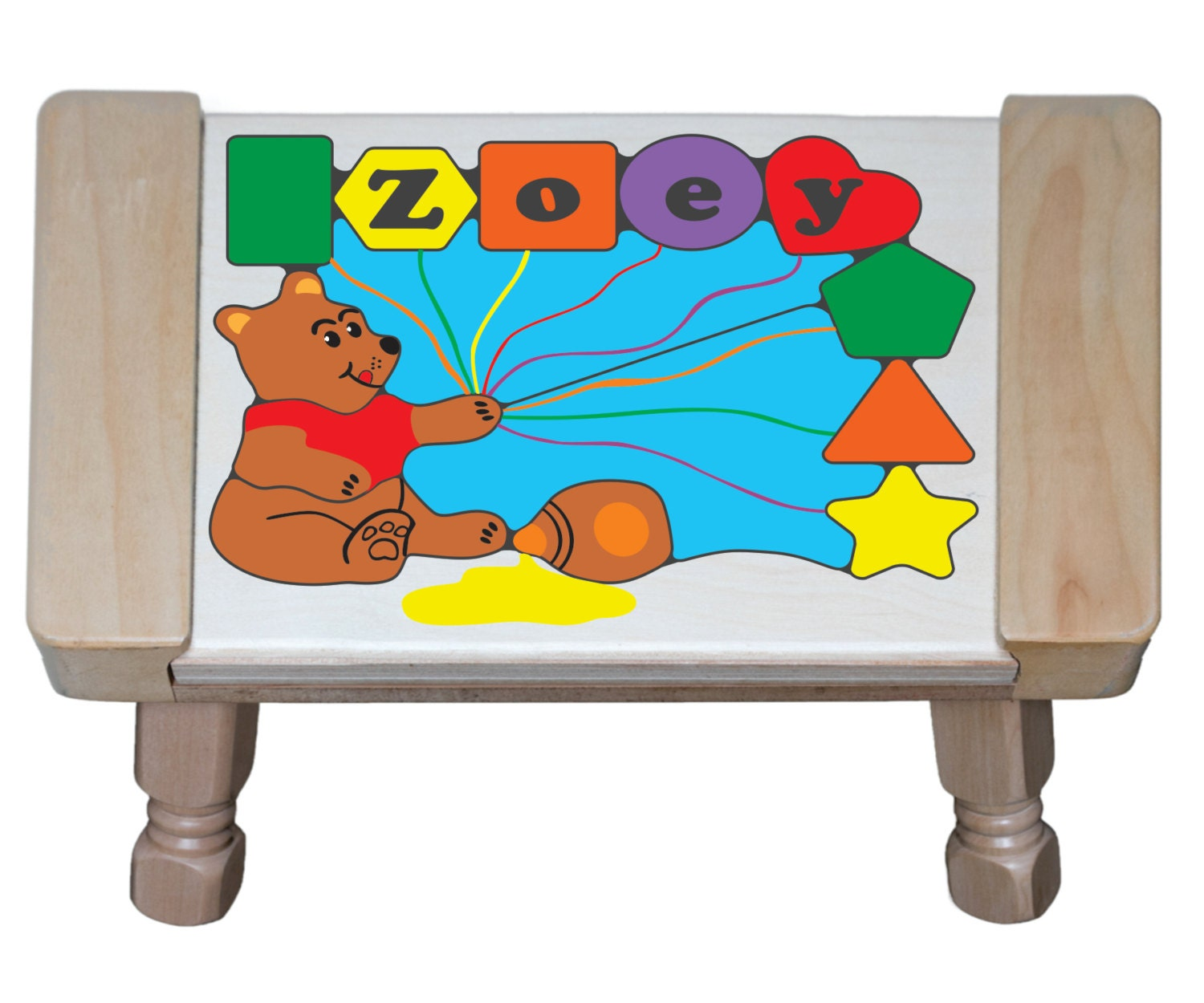 Personalized Name Honey Bear Children Puzzle Step Stool