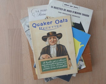 Stack of Vintage French Promotional Recipie Cook Book Quaker, Eggs, Potatoes Etc