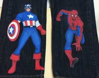 Custom Painted Spiderman or Captain America  2 character jeans Sizes 6m to 24 mo, 2T to 12 teen