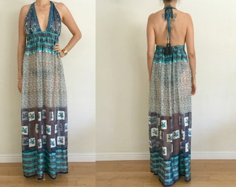 Vintage UPCYCLED Navy Turquoise Ivory Multi Color Ethnic Floral Border Paisley Print Silk Triangle Halter Maxi Dress SM