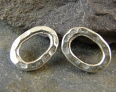 Thai Silver Hammered Oval Links - Hill Tribe Fine Silver findings - Two Pieces - lhtfsho