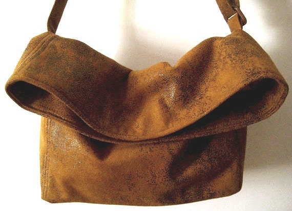 Vegan Crossbody Bag in Honey Mustard Faux Suede, Foldover Crossbody Bags, Vegan Suede Bag
