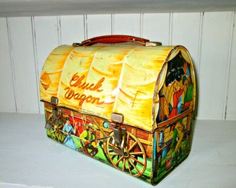 Antique CHUCK WAGON Dome Metal Lunchbox/Rare Collectible/Cowboys/Western/Price Reduced