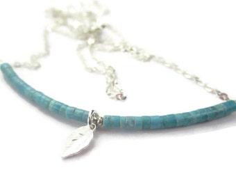 Turquoise Necklace Sterling Silver Leaf Charm Blue Gemstone Bar Necklace December Birthstone