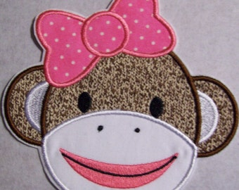 Sock Monkey Girl - Iron On or Sew On Embroidered Applique