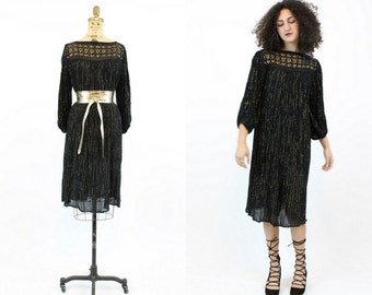 70s Dress Gauzy Caftan S M L  / 1970s Vintage Gold Crochet Dress / Elysian Heights Dress