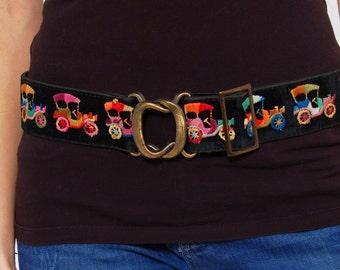 Vintage 70s EMBROIDERED Belt VELVET Tapestry Belt Rainbow MODEL T Hippie Belt Wide Boho Belt