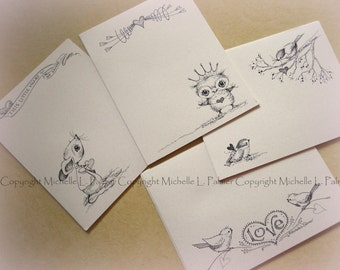 "Litchfield Hill Notepaper Stationery by Michelle L. Palmer 4.25"" x 5.5"" ROSE Love birds Owl bunting heart Mouse Chickadee bird 40 pages"
