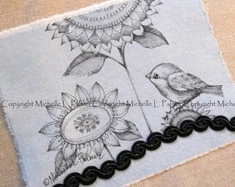 Original Pen Ink on Fabric Illustration Quilt Label by Michelle Palmer Sunflower Sparrow Bird Fall Harvest