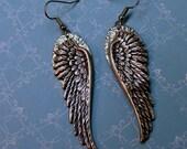 Long Angel Wing Earrings-Handmade Earrings, Dangle, Surgical Steel Ear Wires- Angel Lovers-Gift for Her