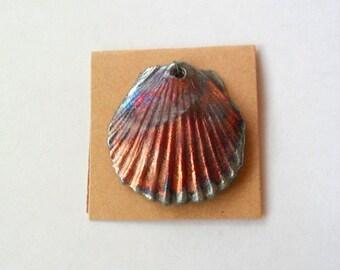 Large Shell Raku Fired Clay Focal Pendant Finding