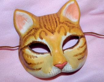 Yellow Ginger Kitty Cat Mask LARP Puss in Boots Adult Size
