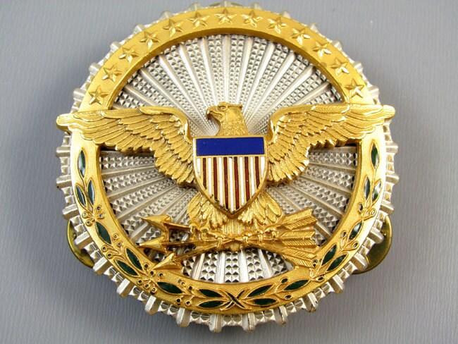 Vintage U.S. military Secretary of Defense sterling silver enamel militaria badge clutch back pin NS Meyer