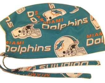 Mens Surgical Scrub Hat Handmade in the USA Miami Dolphins Cotton Fabric Nurse Cap Tie Back Doctor ER Chemo Surgery Skull