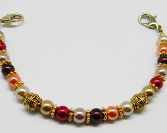 Free Shipping ~ Beaded Medical Alert ID Bracelet Replacement Bracelet Strand, Use with your for id tag ~ Fall Colors