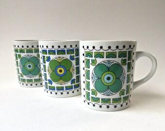 60s vintage Blue and Green Floral Mosaic Tile Design Mugs