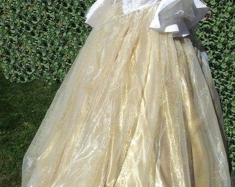 White Gold & Silver ' Star Dust' - Marie Antoinette / Pompadour Court  Ball Gown Dress  FREE SHIPPING!