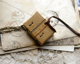 Tiny Tales No.7 - Miniature Wearable Book, Vintage Linen, Tea Stained Pages, OOAK
