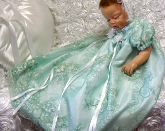 GOWN for REBORN or BABY  Mint Green Embroidered Tulle Gown , Bonnet Shoes   size 0-3 months