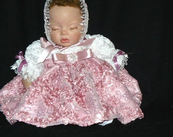BABY REBORN DRESS Dusty Rose Ribbon Embroidered  size 0-3 month