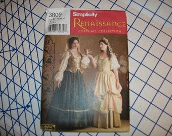 Simplicity 3809 Renaissance costume pattern lady and servant styles sizes 10 to 14