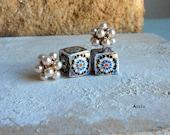 Portugal 16th Century Hispano-Arab Azulejo Arista Tile DOUBLE FRoNT BACK Earrings Monastery Santa Clara in Coimbra, 1314   479 FB