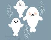 Baby Seal Pups Wall Decals - set of 3 sea lion vinyl decals - nursery room wall decorations - cute seal pups - arctic animals ocean decals