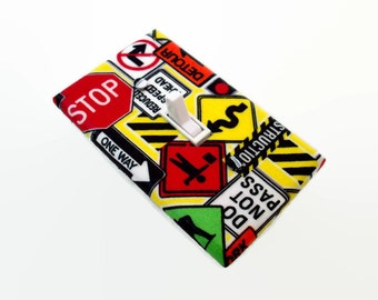 Street Signs Light Switch Cover - Road Signs Switchplate Cover - Construction Sign Boys Bedroom Decor - Boys Switch Plate Room Decor