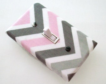 Chevron Light Switch Cover - Pink and Grey Nursery Decor - Girls Nursery - Decorative Switchplate - Chevron Decor - Girl Bedroom - Baby Room