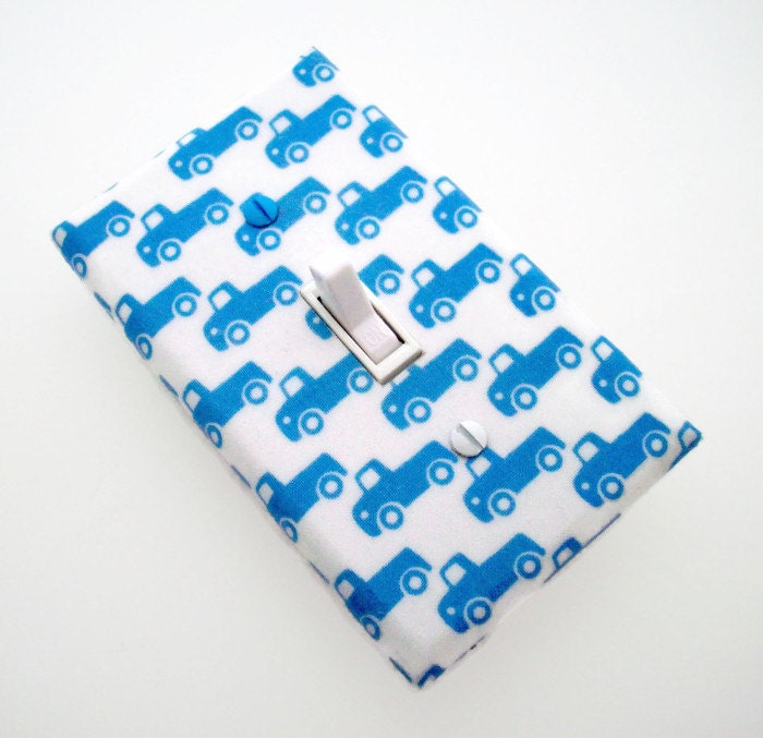 Truck light switch cover trucks switch plate cover blue for Little blue truck fabric