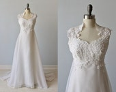Vintage 1970s High Collar Lace and Chiffon Wedding Dress / Vintage 70s Wedding Gown / Bohemian Wedding / Wisteria