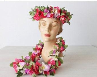 SALE Vintage Hawaiian Lei Set / Adjustable Floral Crown / Pink Purple White
