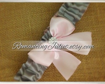 Simple Satin Dual Color Bridal Garter with Rhinestone Accent..You Choose The Colors..shown in silver gray/pale pink