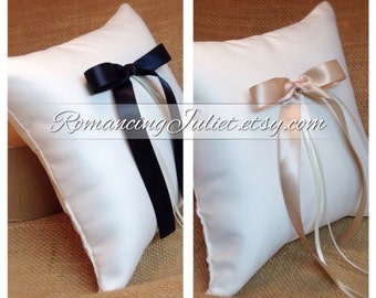 Simple Elegance Ring Bearer Pillow...You Choose Your Colors..SET OF 2..shown in ivory/black & ivory/champagne