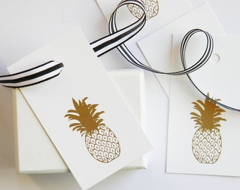 Pineapple Gold Foil Gift Tags / Set of 10