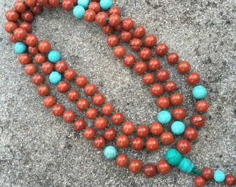 Red Jasper 108 Bead Mala Necklace