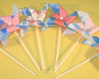 NEW - Pink & Blue Baby Shower Pinwheel Collection  (Qty 12)  Pinwheels, Decorative Pinwheels, Pinwheel Center Pieces, Table Top Party Props