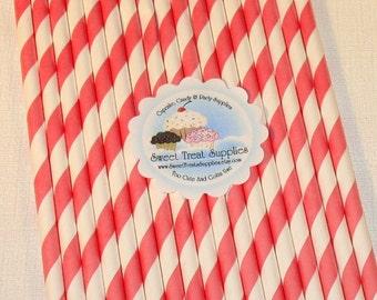 NEW - Watermelon Pink Striped Straws   (Qty 25)  DIY Flag Toppers, Pink Striped Straws, Striped Straws, Straws, Drinking Straws,