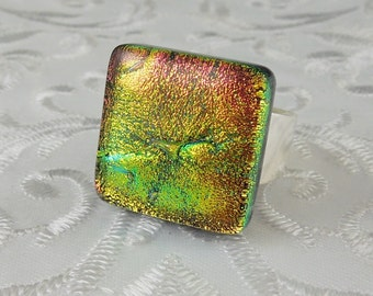 Glass Ring - Fused Glass Ring - Dichroic Fused Glass Ring - Metal Ring - Geekery Jewelry - Dichroic Jewelry - Large Jewelry X4346