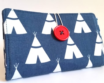 Navy Blue Tampon and Pad Privacy Clutch - Teepees