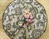 On SALE - Rare Antique Ribbon Work Box Metallic Lace Edwardian