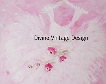 Shabby-Pink-Roses-Tutu-Painting-Wall Art-Ballet